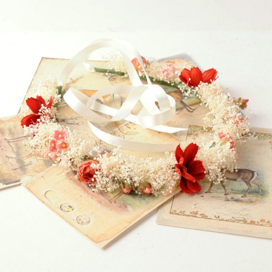 Babys Breath Headband Rustic Flower Crown Wedding Hair Piece