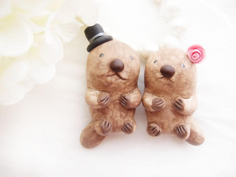 Mariage - Custom Love Wedding Cake Toppers - Sea Otters