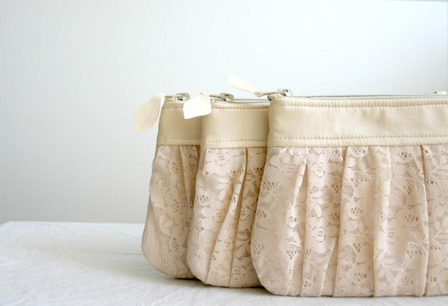 Wedding - 3 Bridesmaid lace clutch Ruched bags Pleated lace Pearl effect leather Choose your colour Romantic wedding