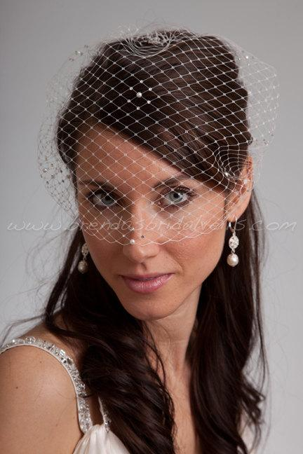 Свадьба - Bandeau Birdcage Veil, Rhinestone and Pearl Accent, Diamond Pattern, Bridal Veil, White, Diamond White, Ivory, Champagne, Black, More Colors