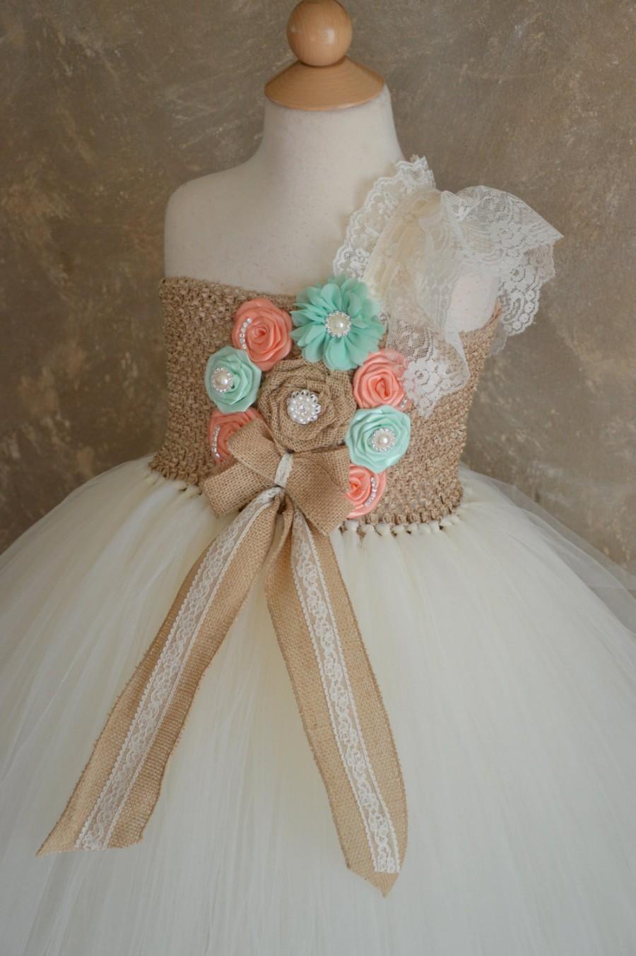 Wedding - Rustic Peach and mint flower girl tutu dress
