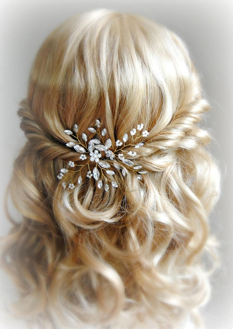 Bridal Hair With Pins : Crystal and pearl hair gold wedding
