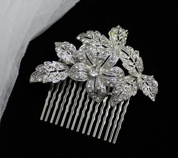 Свадьба - Crystal Bridal Hair Comb, Vintage style Crystal Bridal Hair Accessory, Wedding Hair Jewelry, Bridal Head piece ELLIE