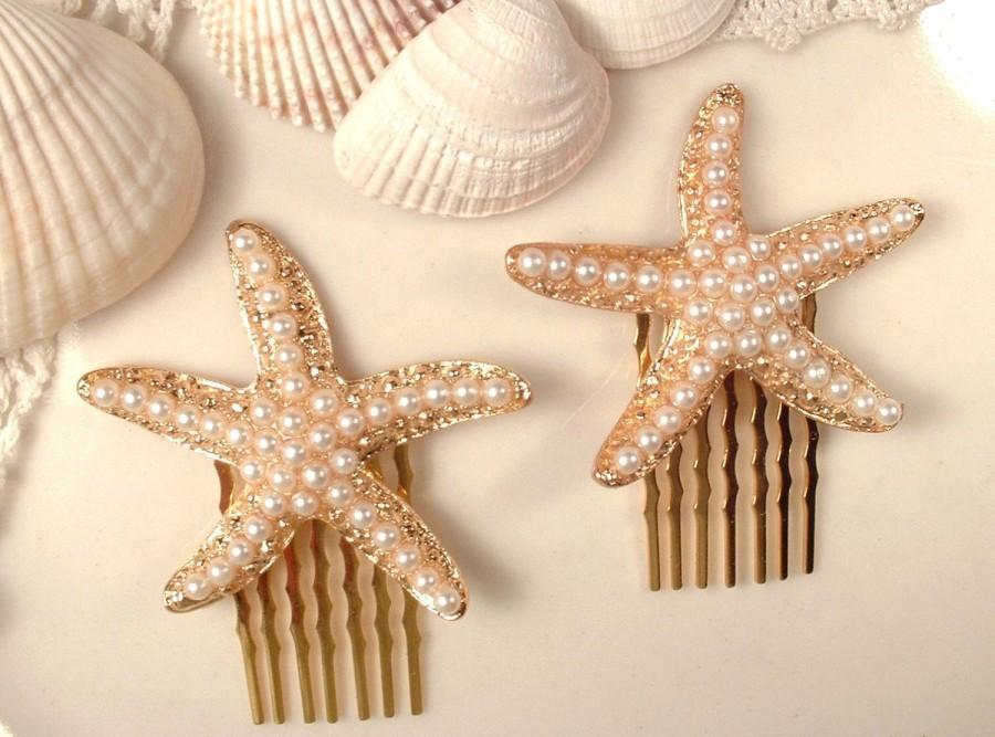 زفاف - Pearl Gold StarFish Hair Combs, PAIR Gold Bridal Hair Accessory, Pearl Star Fish Headpiece, Set of 2 Bridesmaids Gifts Shell Beach Wedding