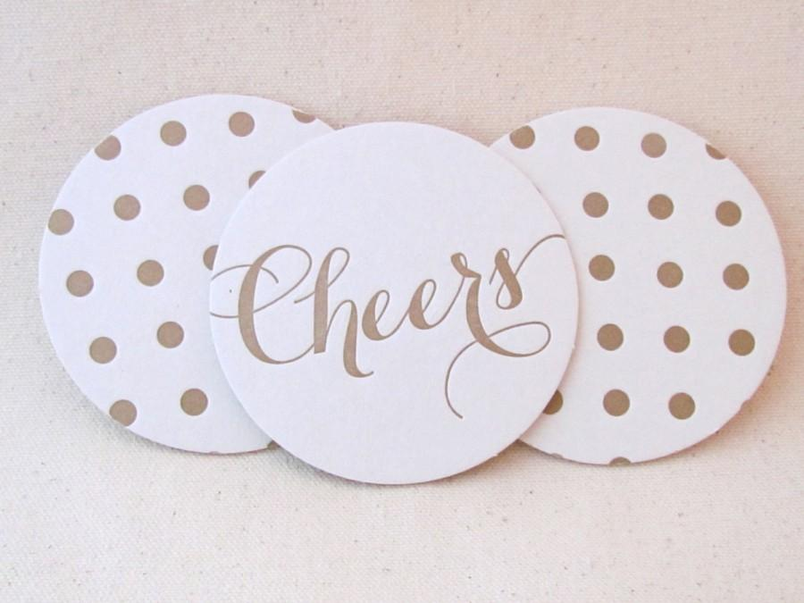 Свадьба - Letterpress Coasters, Cheers and Polka dots, Gold ink, Calligraphy font, Hostess Gift, Wedding Decor, Bridesmaid Gift, Party, Ready to Ship