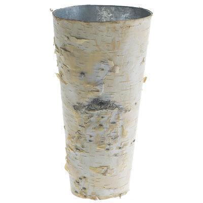 """Hochzeit - SALE Birch Bark Vase Tall Rustic 9"""" Vase Wood Wrapped Planter Wedding Centerpiece Birch and Zinc Flower Pot"""