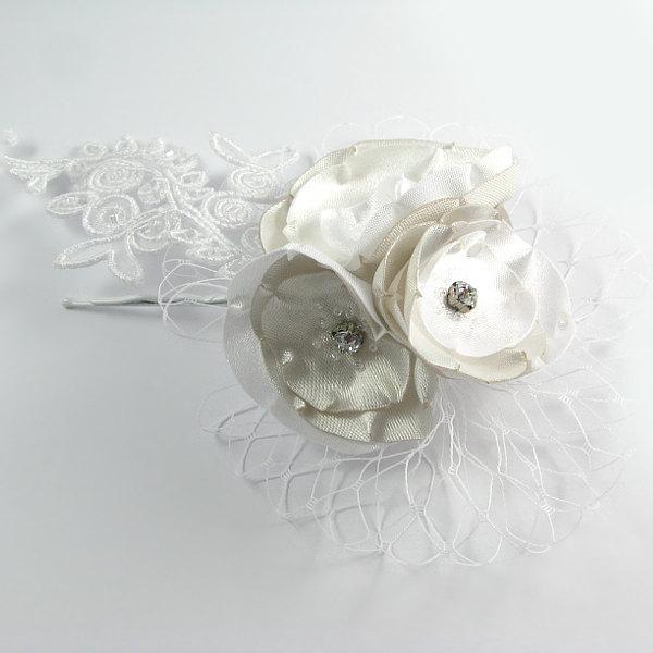 زفاف - bridal hair accessories flowers, bridal hair pin, peony, white, ivory, bridal accesories, floral pin, venise lace wedding accessories