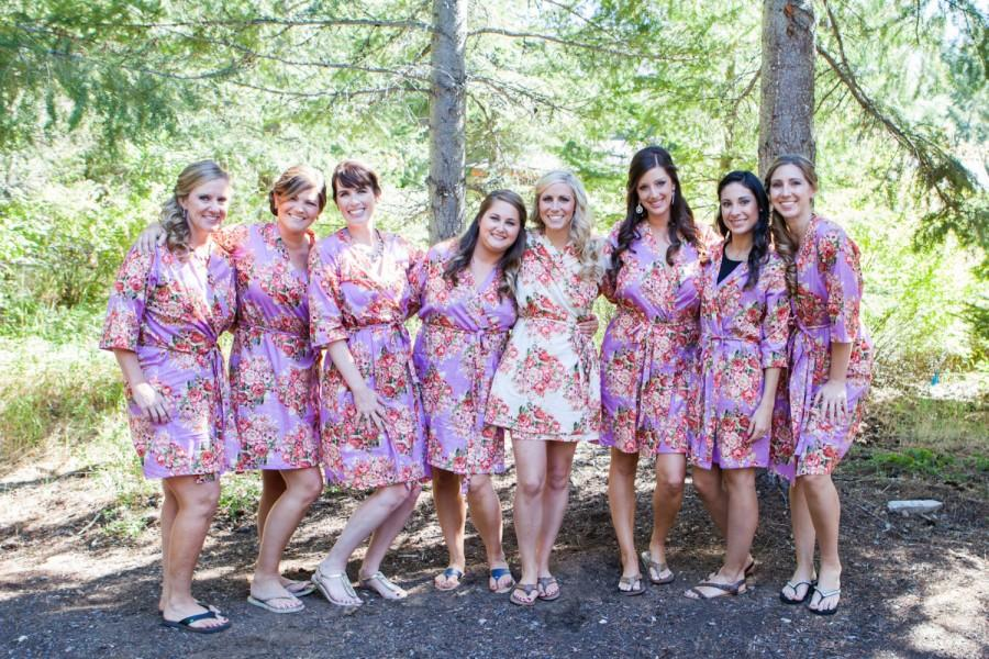 Shabby Chic Pink Bridesmaids Robes. Kimono Crossover Robe ...