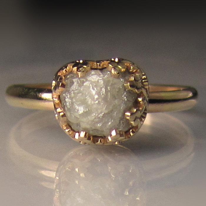 Mariage - White Raw Diamond Engagement Ring 14k Gold, 1.85CTS Rough Diamond Ring, OOAK, Handmade Uncut Diamond Engagement Ring, Solid Gold Ring