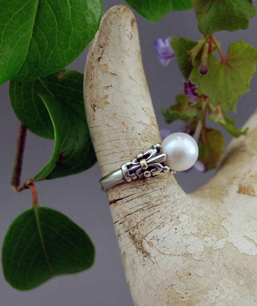 Mariage - Desiree - Custom order pearl ring, made to order, pearl ring, fleur-de-lis, wedding, engagement, Tahitian, South Sea, freshwater, for her