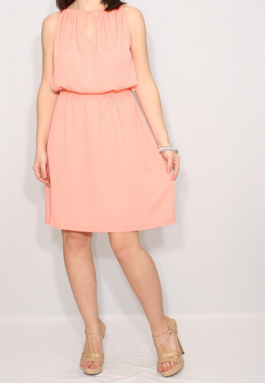 Peach Dress Short Bridesmaid Chiffon Keyhole