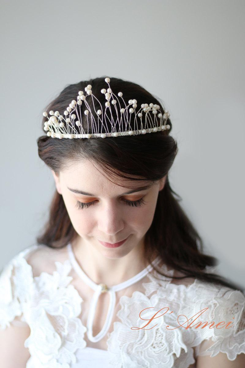 Свадьба - Floral Bridal Circlet Freshwater Pearls Wedding Crown Headpiece Wreath Accessory