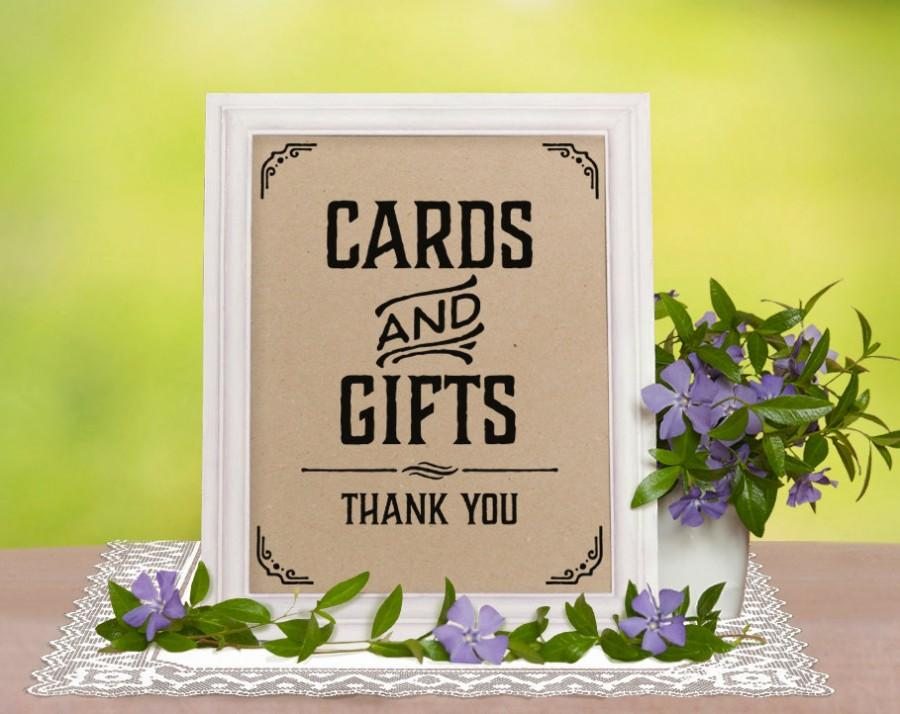 Printable Wedding Reception Sign Cards And Gifts Sign Rustic
