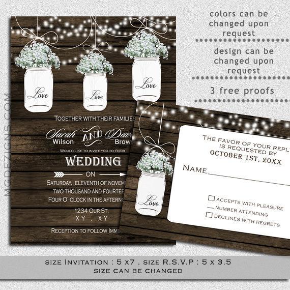 Mariage - Printable Barnwood String of Lights, Outdoor, Barnyard Wedding,Baby's Breath flowers in white Mason Jar Rustic Wedding Invitation Templates