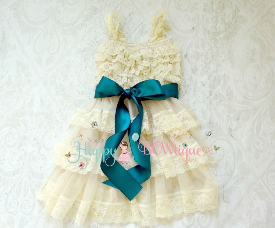 Wedding - Flower Girl Dress, Champagne Teal Bow Chiffon lace dress, Rustic dress,Country dress,Baby Girls Dress,Ivory dress,1st Birthday dress,Toddler