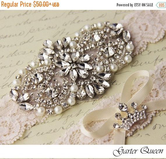 Hochzeit - SALE  20% OFF Wedding Garter Set, Ivory Bridal Garter Set, Ivory Lace Garter, Lace Wedding Garter, Ivory Garter Set, Personalized Garter