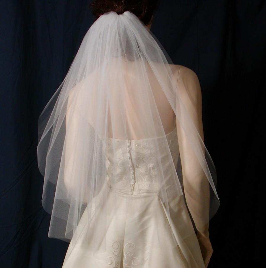 Mariage - Classic Elegance in a 2 tier  Elbow length Bridal veil with a super sheer plain cut edge
