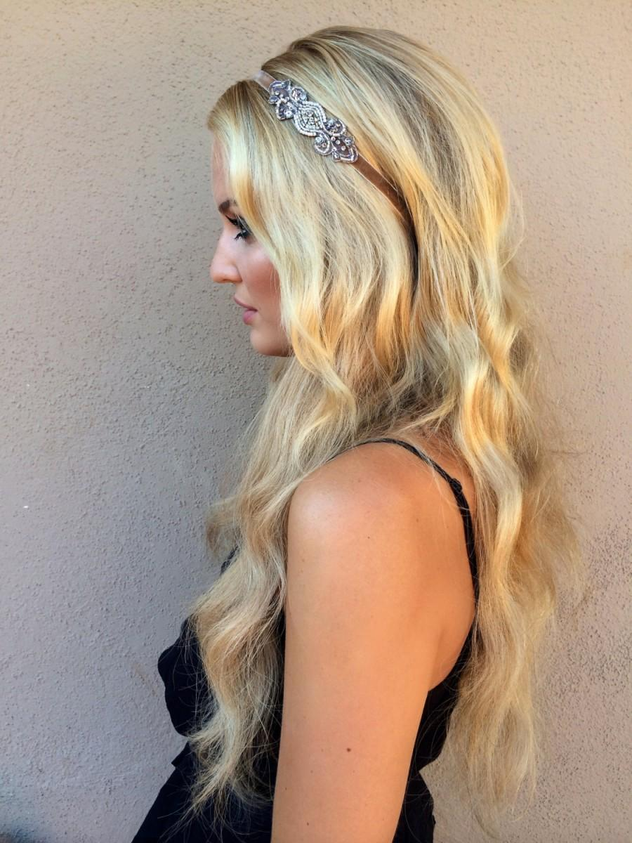 Wedding - 1920s Gatsby hair accessories, silver beading, champagne gold beading, velvet stretch headband, headbands, elastic Bronze beading Fascinator