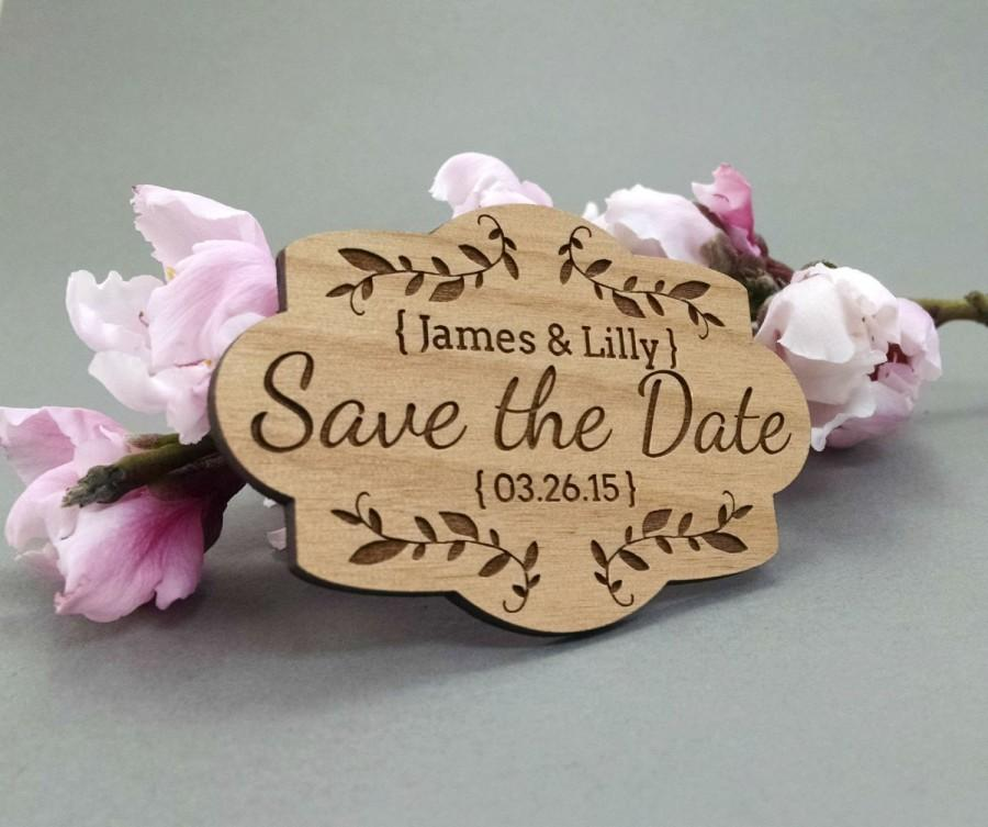 Mariage - Wedding Save the Date Magnets - Custom Engraved Wood Magnets