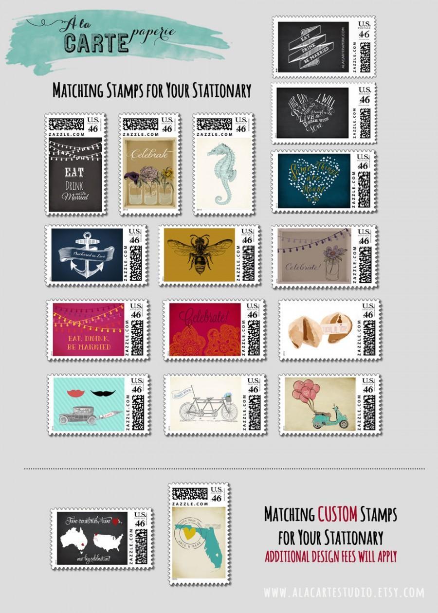 Свадьба - Custom Postal Stamps  matching our Wedding Invitations - design fee