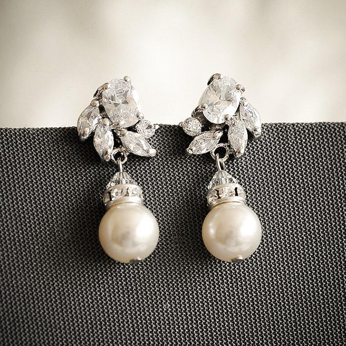 Crystal Bridal Earrings Art Deco Wedding Swarovski Pearl Drop Earring Zirconia Dangling Stud Jewelry Honora