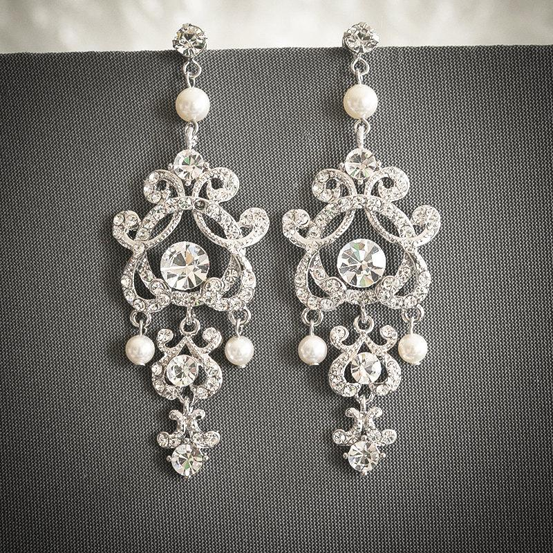 Mariage - Vintage Style Wedding Earrings, Swarovski Pearl and Crystal Bridal Earrings, Silver Filigree Chandelier Stud Earrings, Wedding Jewelry, HERA