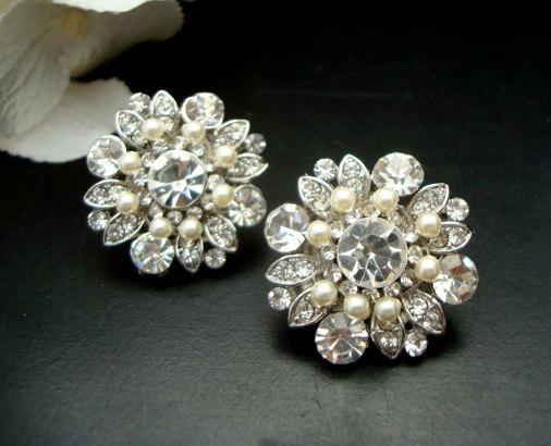 Mariage - Bridal earrings,Pearl Rhinestone Earrings,Ivory Swaroski Pearls,Pearl Bridal Earrings,Statement Bridal Earrings,Pearl Earrings,Pearl,COLLEEN