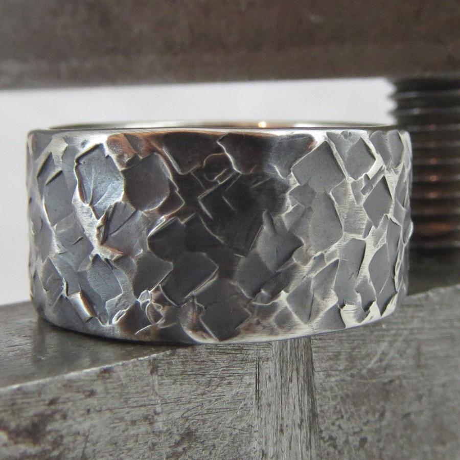 Mariage - Mens Wedding Ring Oxidized Sterling Silver Unusual Heavily Textured Steampunk Wide Band 10mm Design 0103