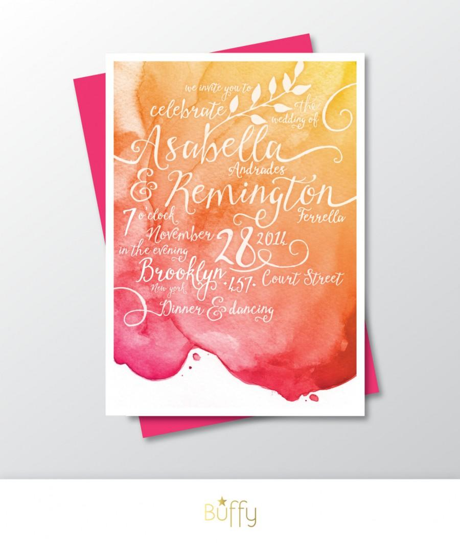 Calligraphy watercolor invitation only gold magenta