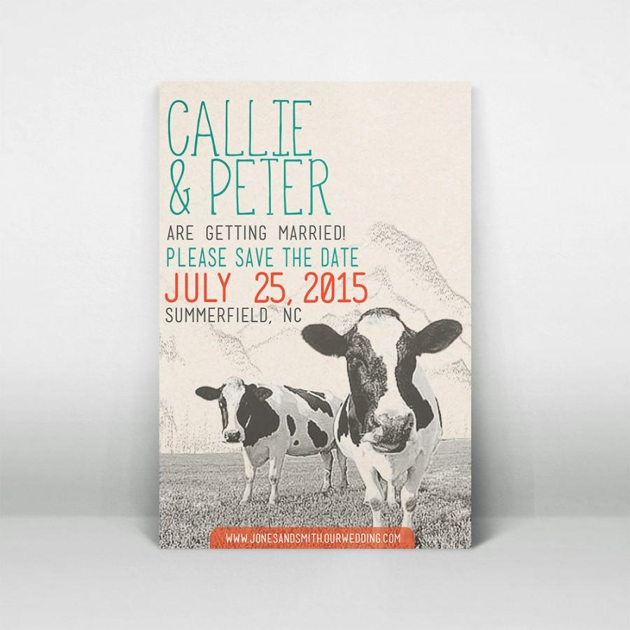 Printable Rustic Cow Wedding Save The Date Template - Country ...