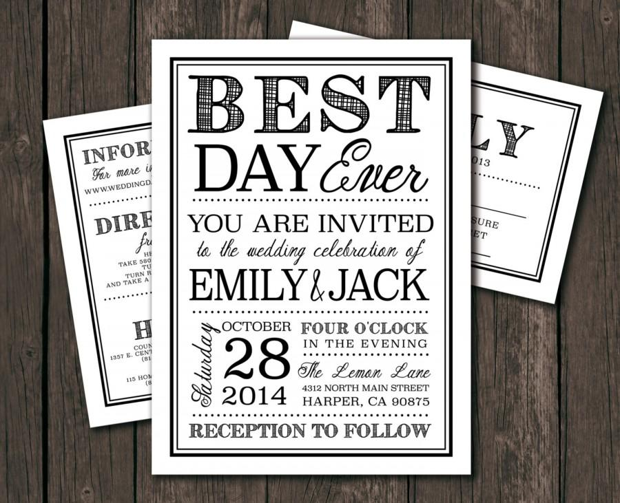 Moder wedding invitation template printable diy wedding moder wedding invitation template printable diy wedding invitation best day ever typography 1065 stopboris Images