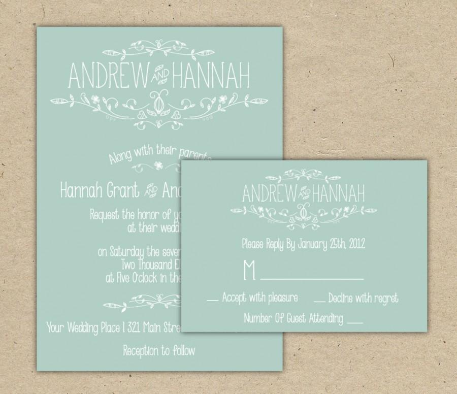 Modern Country Chic Wedding Invitation And RSVP -Printable DIY ...