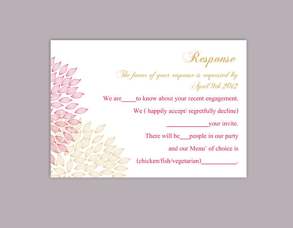 Nozze - DIY Wedding RSVP Template Editable Word File Instant Download Rsvp Template Printable RSVP Cards Pink Gold Rsvp Card Floral Rsvp Card