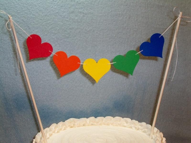 Свадьба - Wedding Cake Topper Garland, Heart Bunting, Valentine's Day, Rainbow Birthday, Anniversary