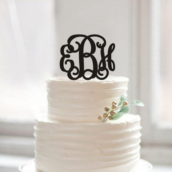 Mariage - Custom initial name cake topper,monogram cake topper,unique ABCDEFG cake topper gift,rustic cake topper for wedding,acrylic monogram topper