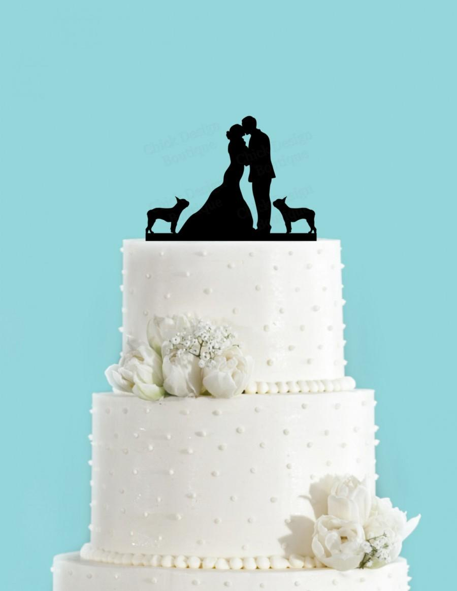 Mariage - Couple Kissing with Two Boston Terriers Wedding Cake Topper