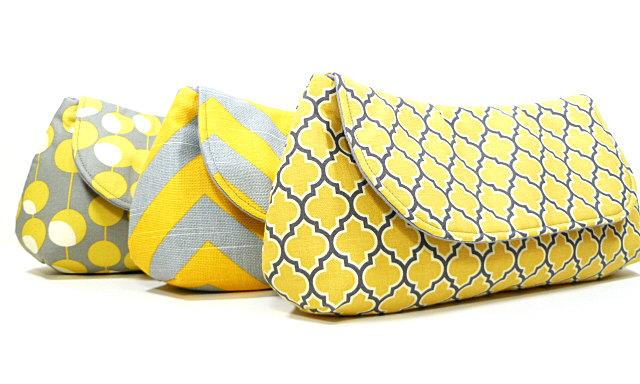Mariage - Bridesmaids Clutches Choose Your Fabric Gray Yellow Set of 7