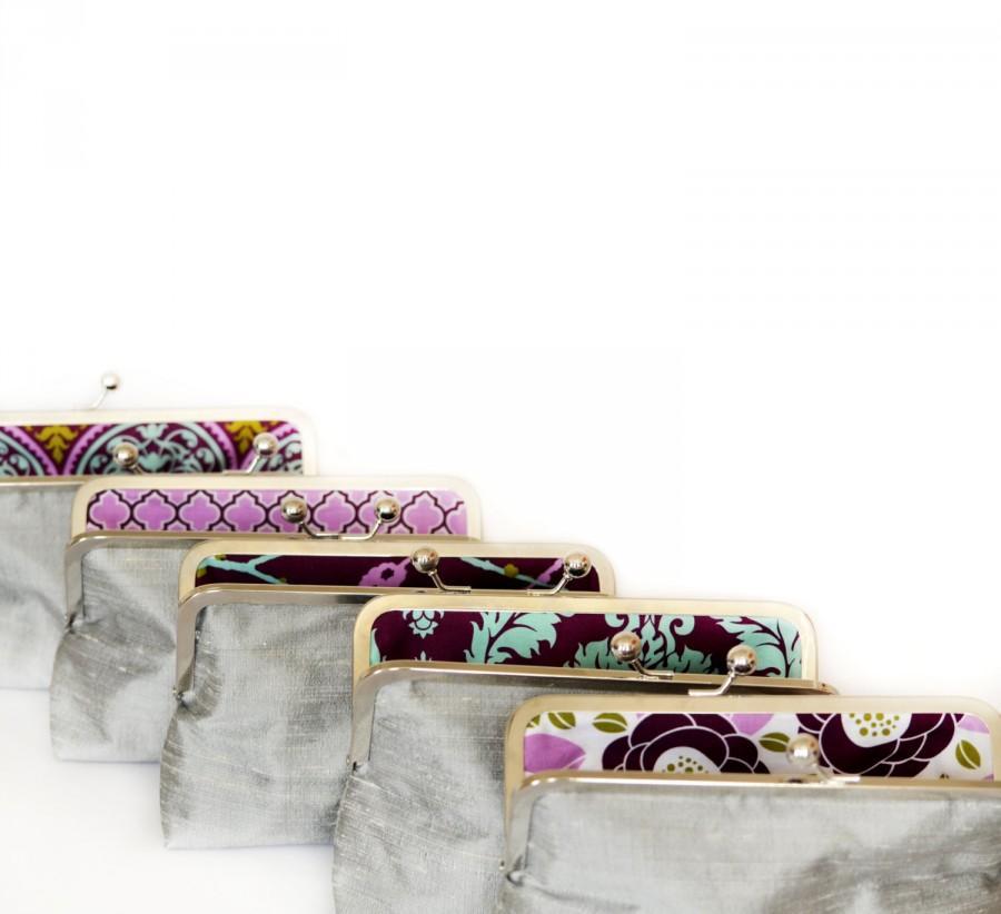 Mariage - Custom Silk Silver Bridesmaid Clutch Gift Bridesmaids Bag Wedding Purse by Lolis Creations
