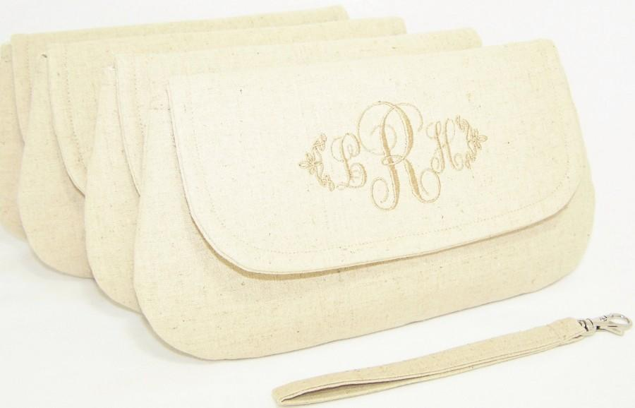 Mariage - Bridesmaid's Set - Monogrammed Wristlet/Clutch in Linen and Cotton Blend-- Wedding Clutch - Bridesmaid Clutch