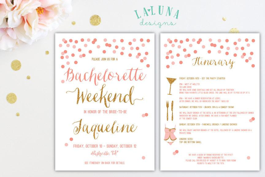 Bachelorette Party Invitation With Itinerary Bachelorette Weekend