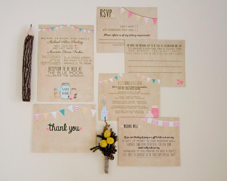 wedding invitation suite deposit printable custom diy rustic