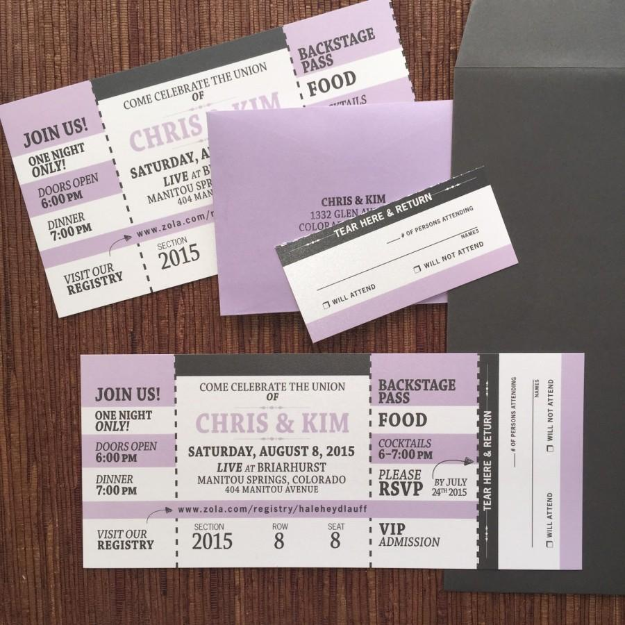 Concert ticket invitation with rsvp tear off stub wedding concert ticket invitation with rsvp tear off stub wedding birthday bat mitzvah party filmwisefo