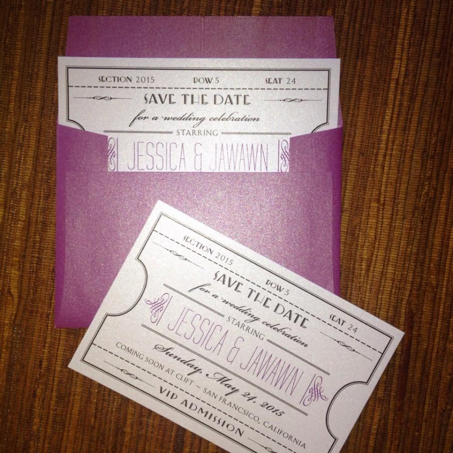 Mariage - Vintage Ticket Save The Date / wedding / Birthday / Shower / Party Invitation