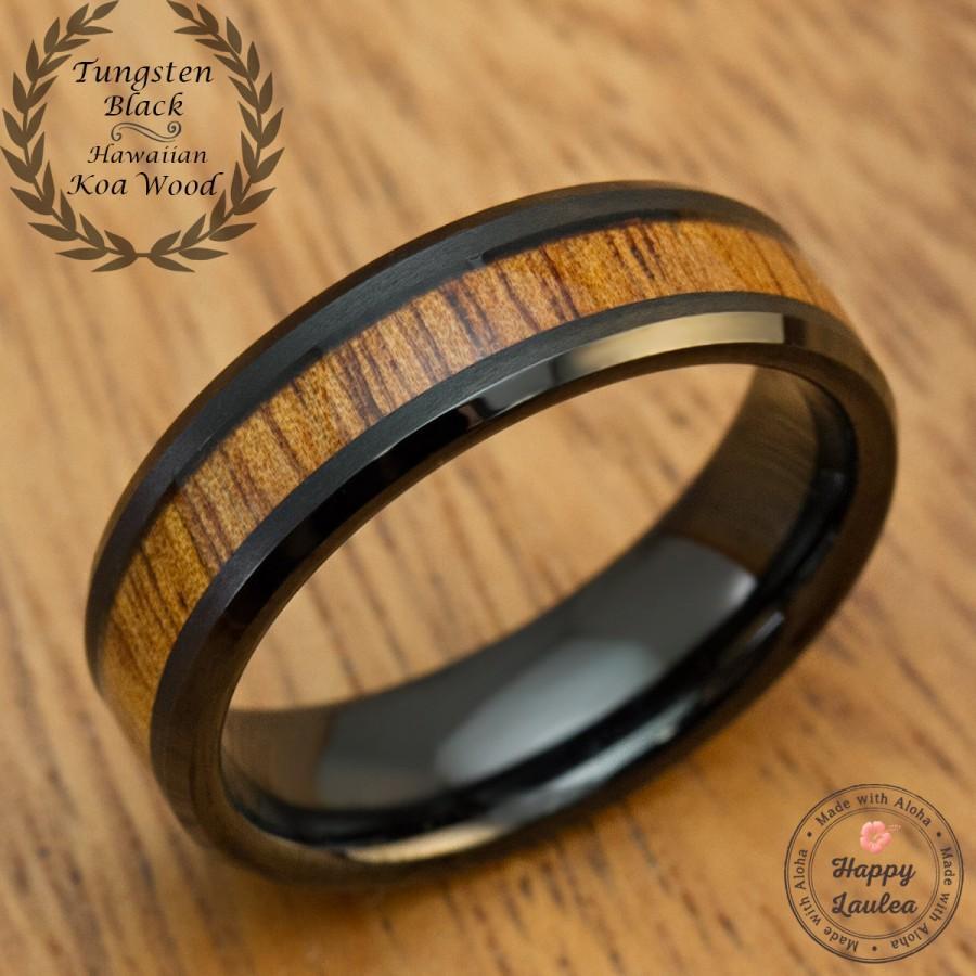 Mariage - Black Tungsten Carbide Wedding Ring Ring with Hawaiian Koa Wood Inlay (6mm Width, Flat Beveled Edge Style, Comfort Fit)