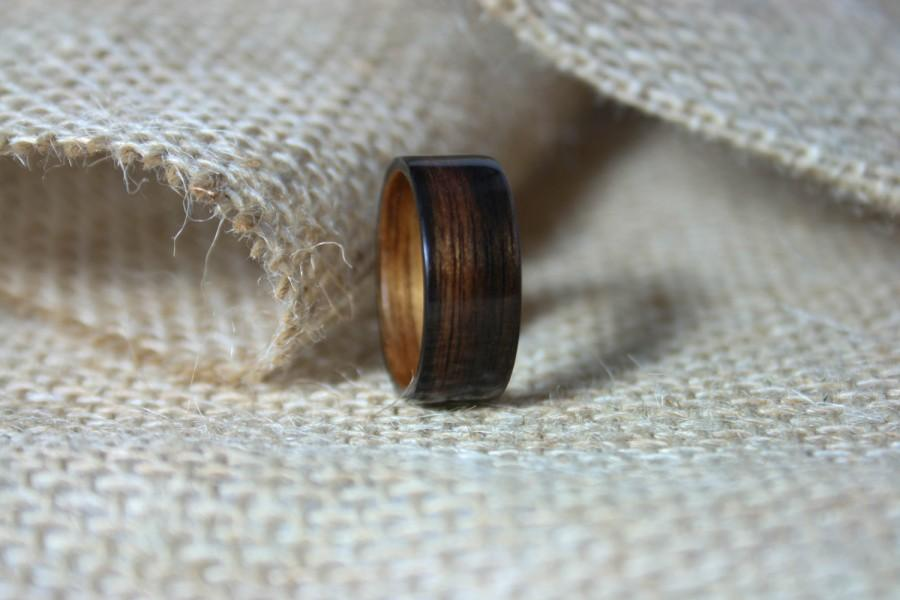Mariage - Ebony Bentwood Ring with Hawaiian Koa Wood Lining - Men's Bentwood Wedding or Anniversary Band- Hand Crafted Wooden Ring