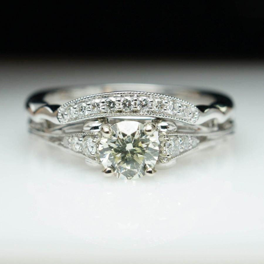 Mariage - Vintage Antique Style Diamond Engagement Ring & Wedding Band Complete Set 14k White Gold Engagement Ring