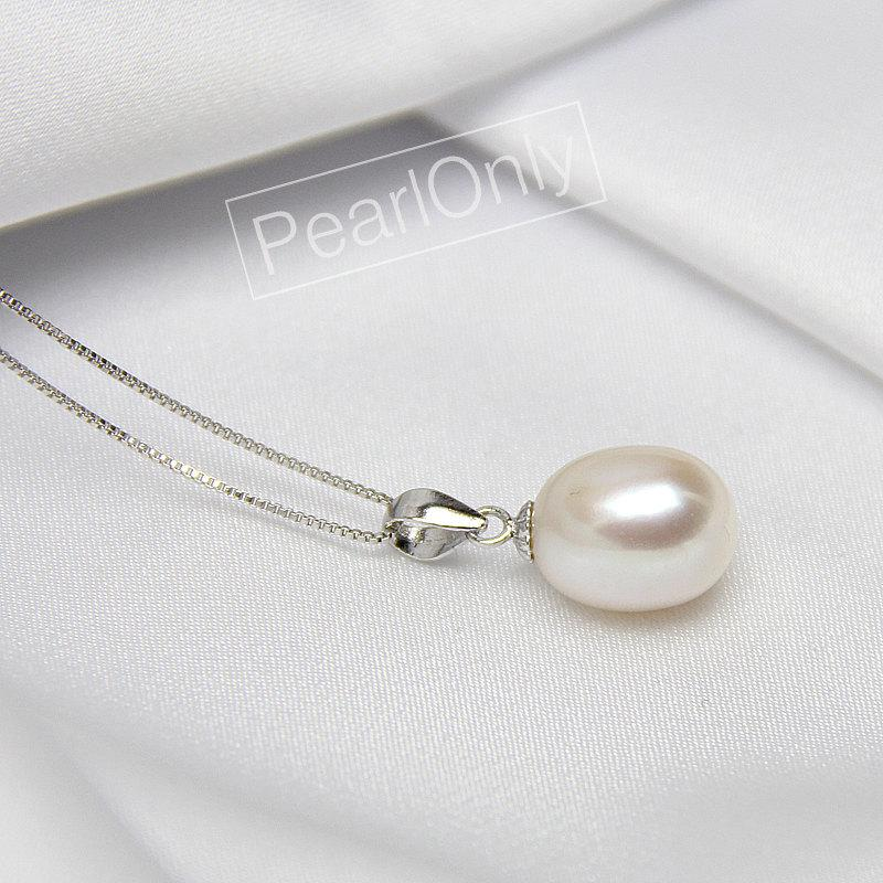 Mariage - drop pearl pendant,9-9.5mm freshwater pearl drop pendant, ivory white tear drop pearl pendant,sterling silver pearl pendant PD015