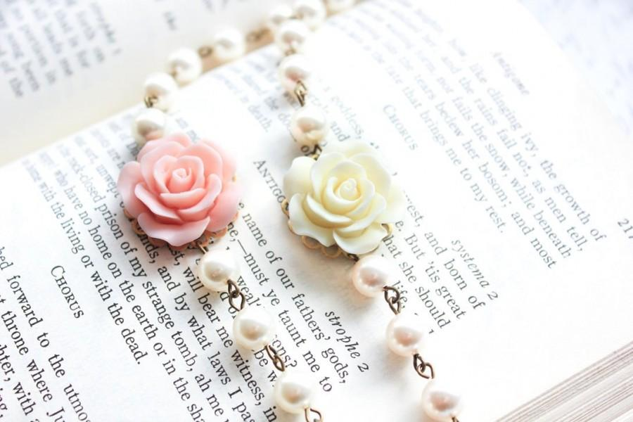 Wedding - Rose Bracelet Bridesmaids Gifts Pastel Pink Rose and Pearl Bracelet Cream Rose Bracelet Country Chic French Romantic Summer Wedding Jewelry