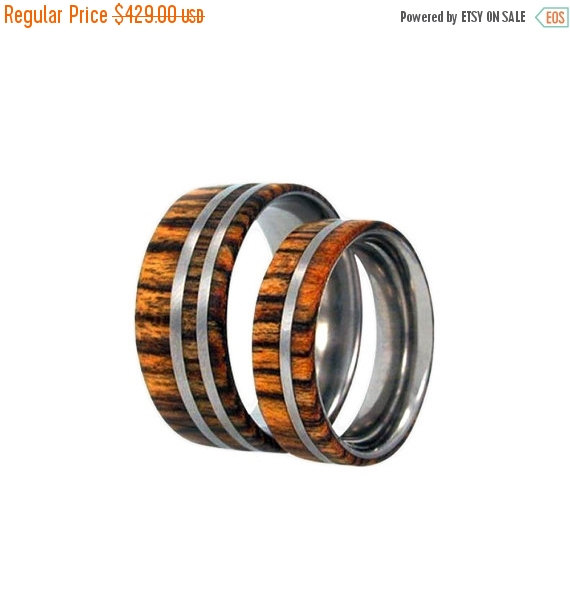 Mariage - Holiday Sale 15% Off Wooden Wedding Band Set, Bocote Wood Rings, Titanium Pinstripes, Ring Armor Included