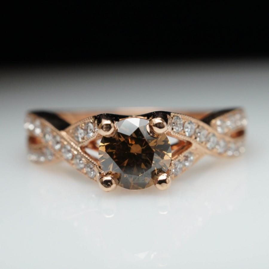 white diamond rings diamonds and champagne ladies brown gold mainro ring wedding unique